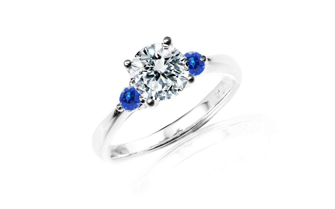 Ready-to-Ship Engagement Ring with side Blue Sapphires